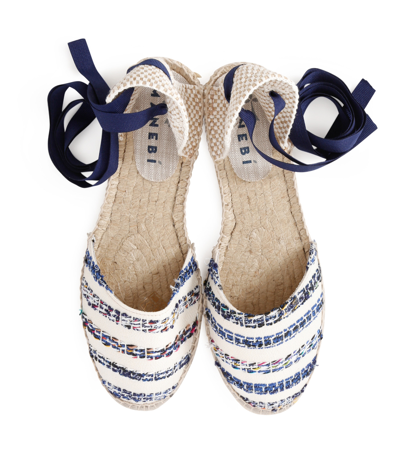 Manebi(マネビ)のtweed stripes ribbon sandals-BLUE(シューズ/shoes)-V-4-7-P-92 拡大詳細画像4