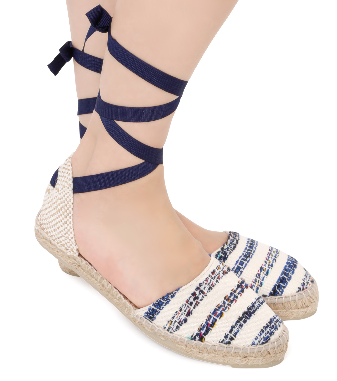 Manebi(マネビ)のtweed stripes ribbon sandals-BLUE(シューズ/shoes)-V-4-7-P-92 拡大詳細画像5