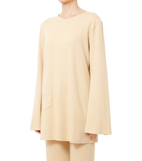 AKANE UTSUNOMIYA(アカネウツノミヤ)のLong Sleeve Rib Knit Pullover-LIGHT BEIGE(ニット/knit)-W16FCT032001-51 詳細画像1