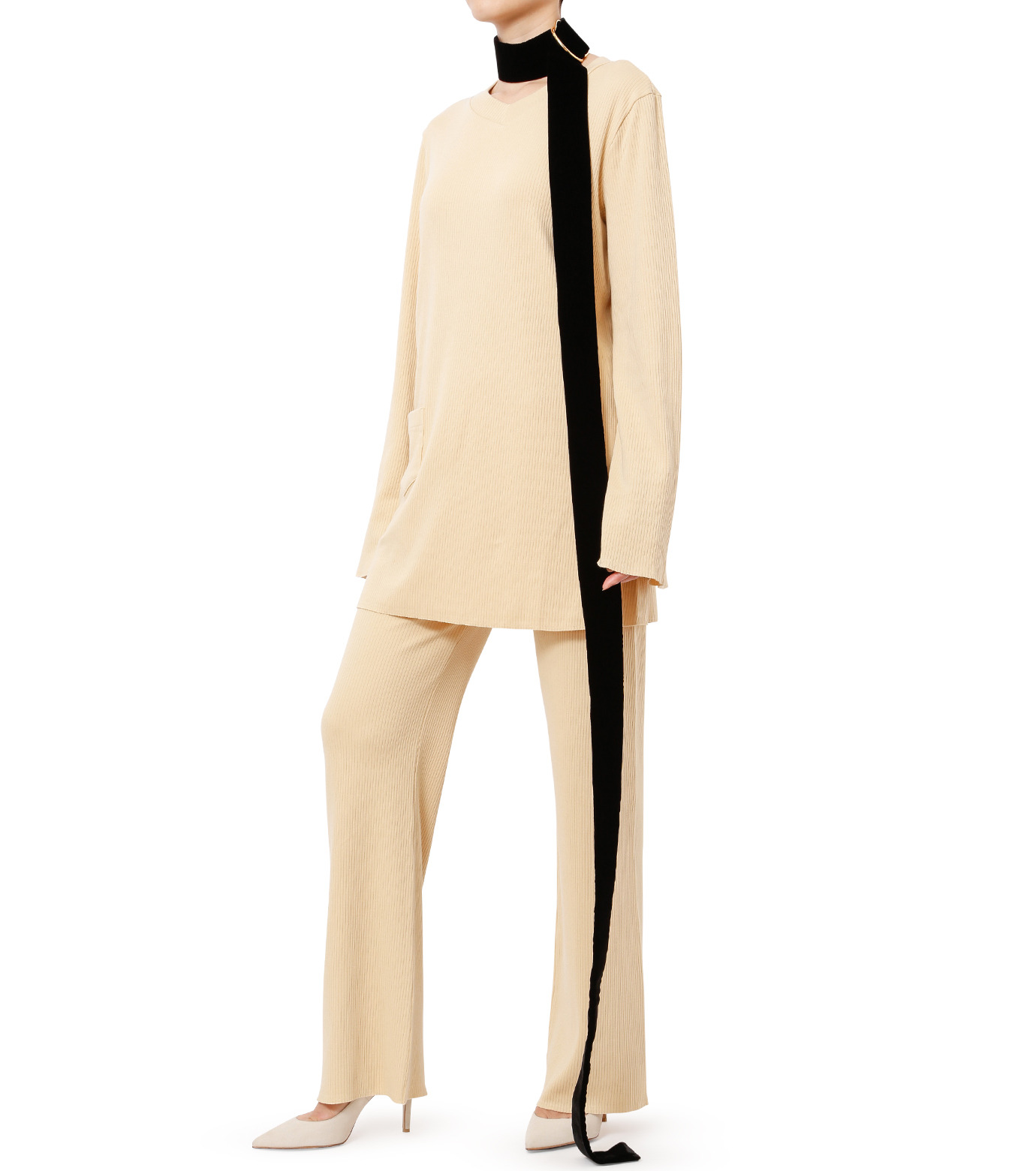 AKANE UTSUNOMIYA(アカネウツノミヤ)のLong Sleeve Rib Knit Pullover-LIGHT BEIGE(ニット/knit)-W16FCT032001-51 拡大詳細画像3