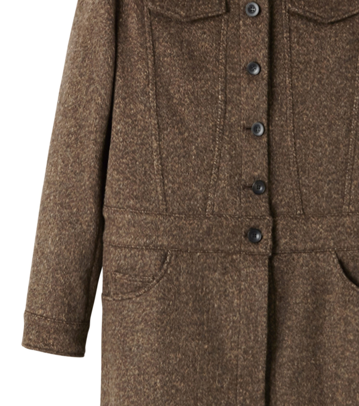 AKANE UTSUNOMIYA(アカネウツノミヤ)のNep Long Shirt Dress-DARK BROWN(ワンピース/one piece)-W16FT513008-43 拡大詳細画像3
