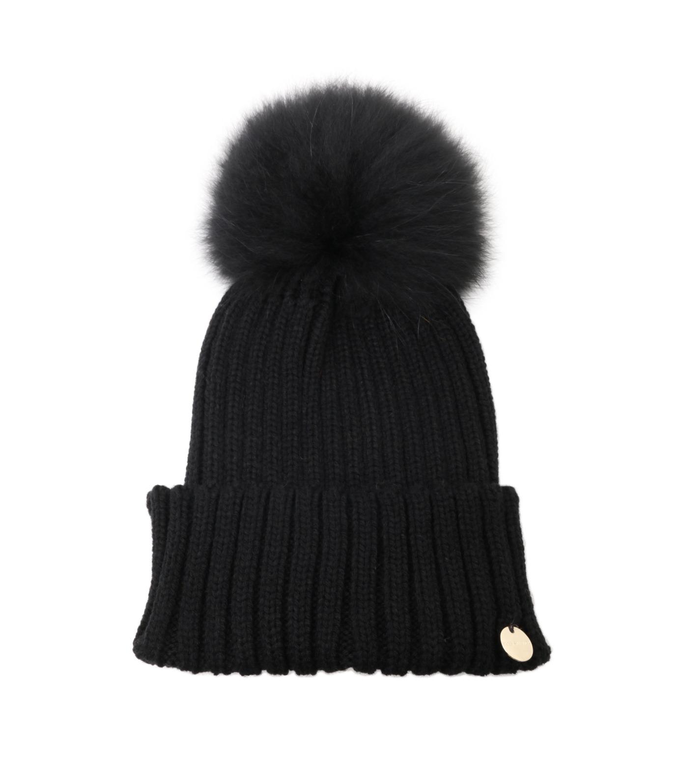 Yves Salomon(イヴ サロモン)のKnit Cap w/Marmotte Fur-BLACK(キャップ/cap)-Y5982XXFCA-13 拡大詳細画像1