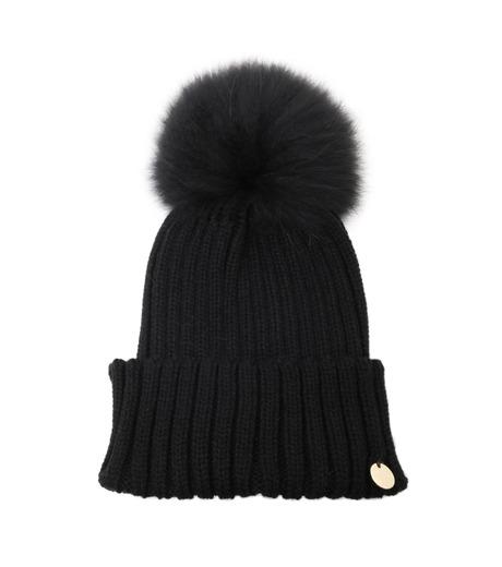 Yves Salomon(イヴ サロモン)のKnit Cap w/Marmotte Fur-BLACK(キャップ/cap)-Y5982XXFCA-13 詳細画像1