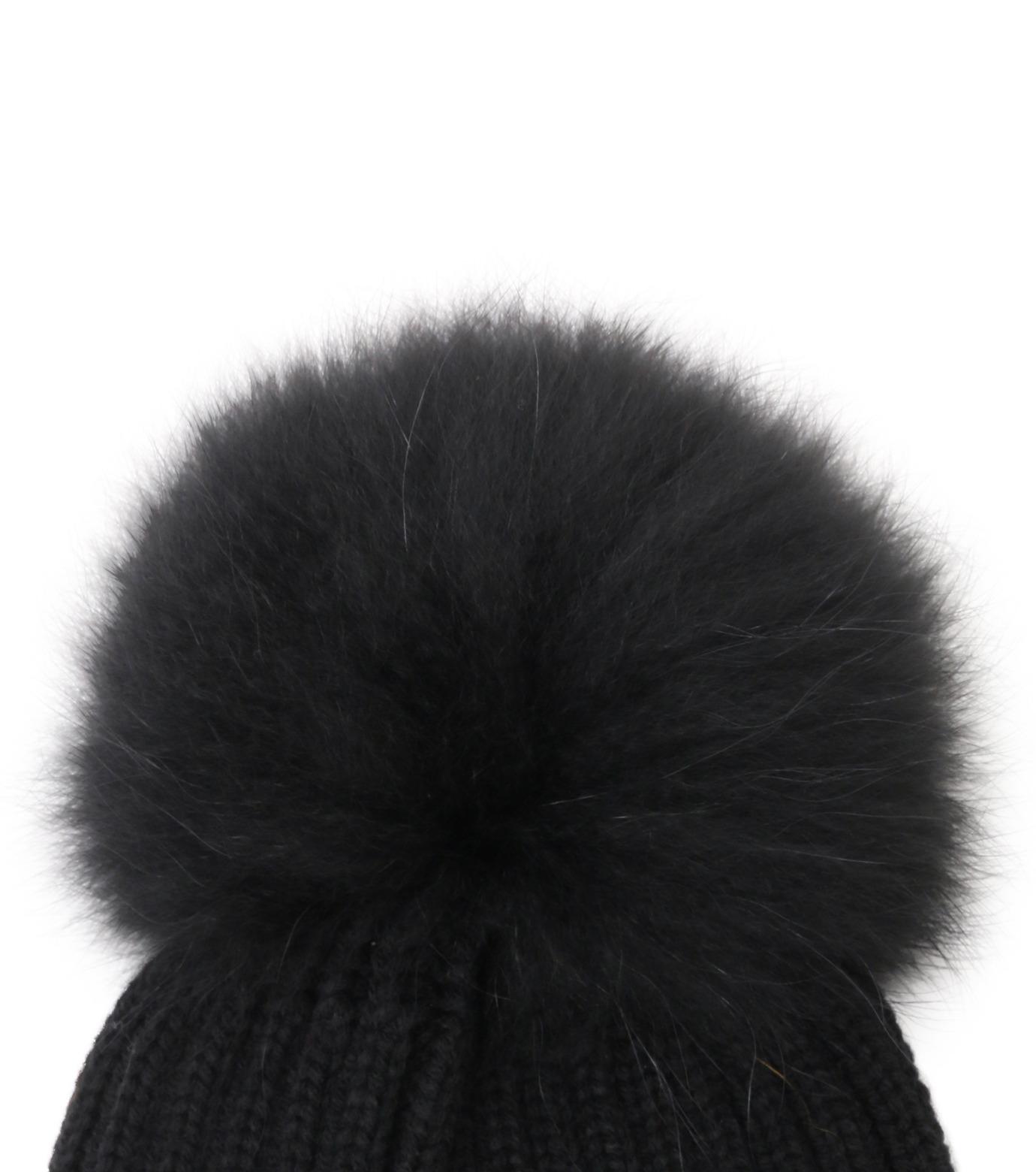 Yves Salomon(イヴ サロモン)のKnit Cap w/Marmotte Fur-BLACK(キャップ/cap)-Y5982XXFCA-13 拡大詳細画像2