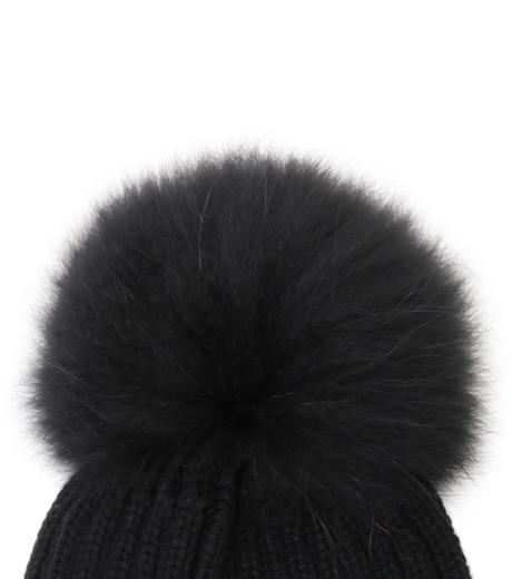 Yves Salomon(イヴ サロモン)のKnit Cap w/Marmotte Fur-BLACK(キャップ/cap)-Y5982XXFCA-13 詳細画像2