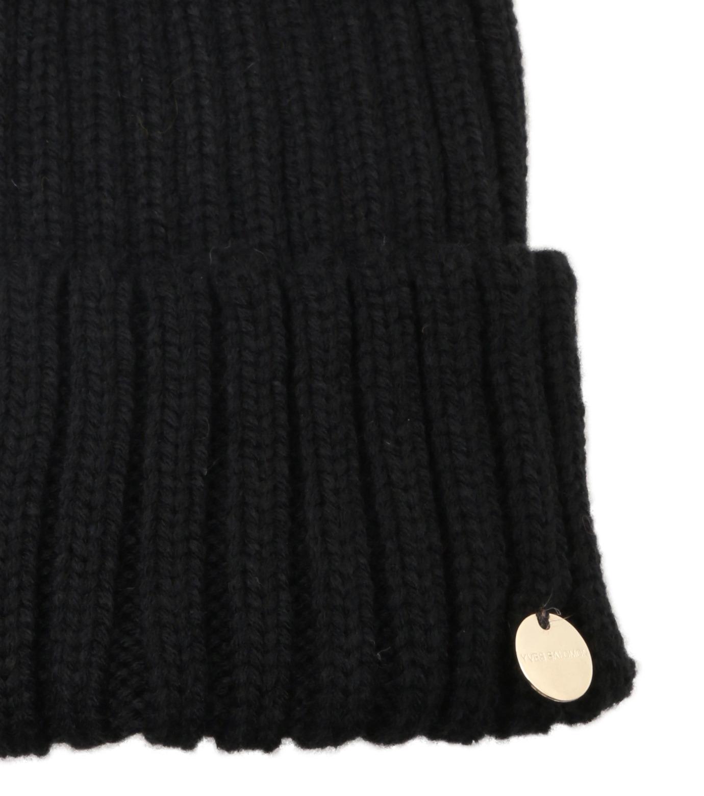 Yves Salomon(イヴ サロモン)のKnit Cap w/Marmotte Fur-BLACK(キャップ/cap)-Y5982XXFCA-13 拡大詳細画像3