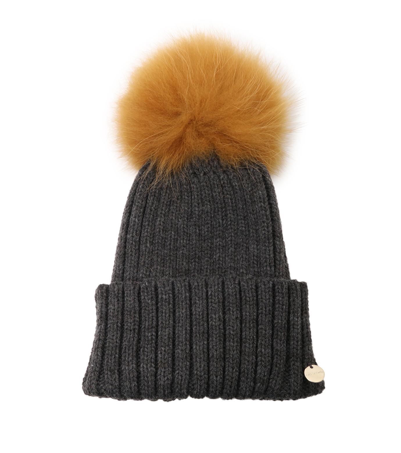 Yves Salomon(イヴ サロモン)のKnit Cap w/Marmotte Fur-YELLOW(キャップ/cap)-Y5982XXFCA-32 拡大詳細画像1