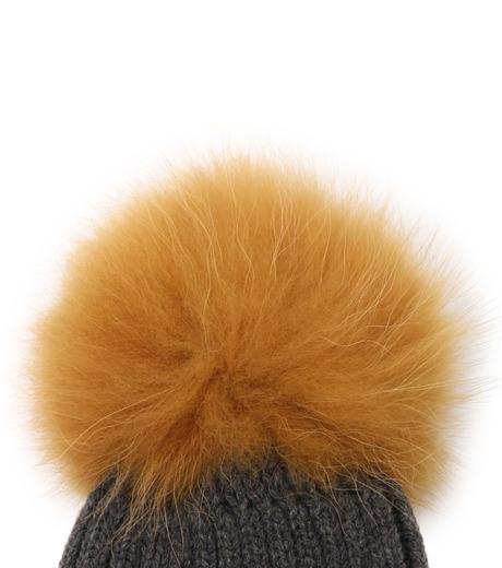 Yves Salomon(イヴ サロモン)のKnit Cap w/Marmotte Fur-YELLOW(キャップ/cap)-Y5982XXFCA-32 詳細画像2