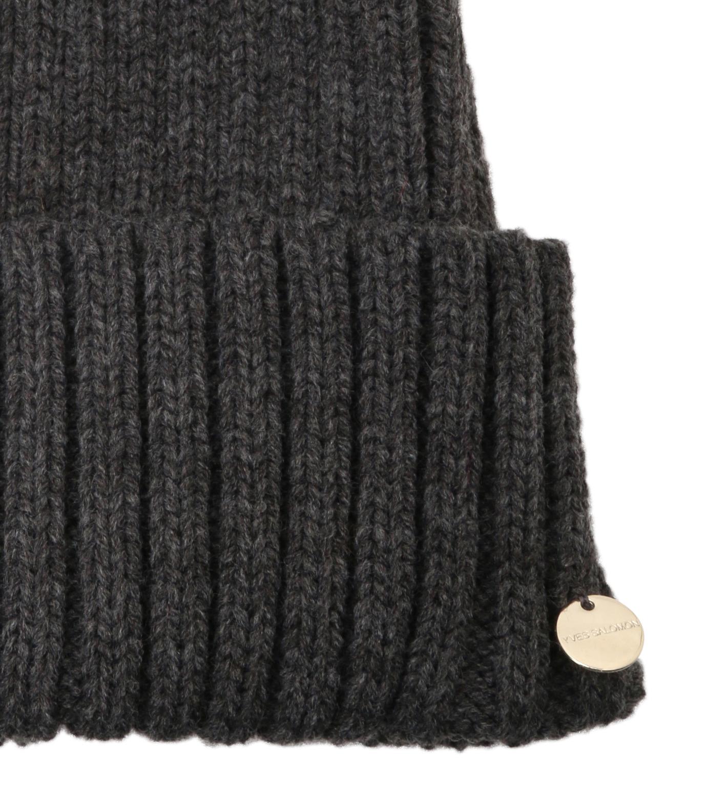 Yves Salomon(イヴ サロモン)のKnit Cap w/Marmotte Fur-YELLOW(キャップ/cap)-Y5982XXFCA-32 拡大詳細画像3